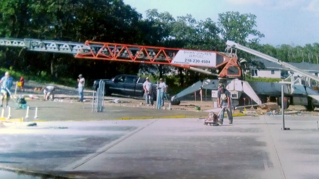 Laying concrete at the Turtle Mountain Transit Facility